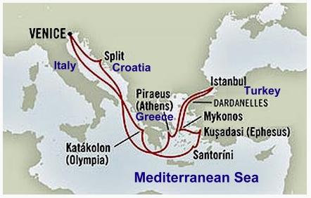 Holland America cruise map