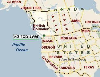 North America map locating Vancouver