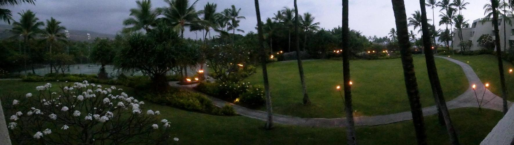 Hotel Grounds panorama night view