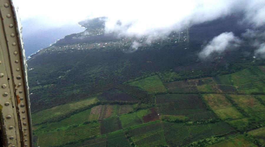 Helicopter View of lush green area near Hilo