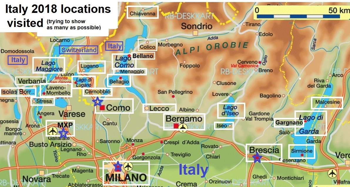 Italy trip map